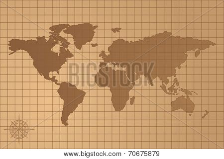 Illustrated Map Of The World With All Continents