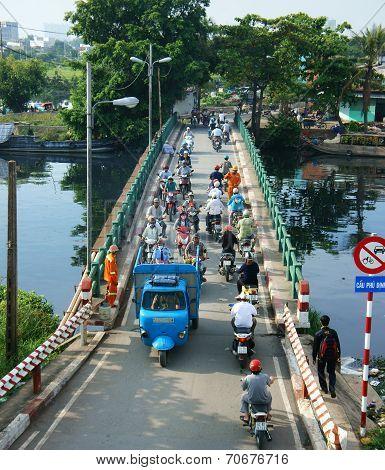 Group Of Vehicle Cross Vietnam Bridge