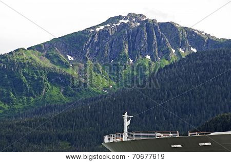 Cruiseship Bow With Mountain