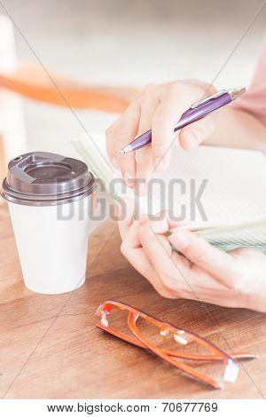 Writing Time In Coffee Shop