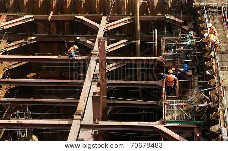 Vietnam Construction Worker Working On Site