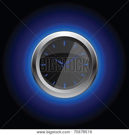 Stop watch with oreol on black background, vector illustration