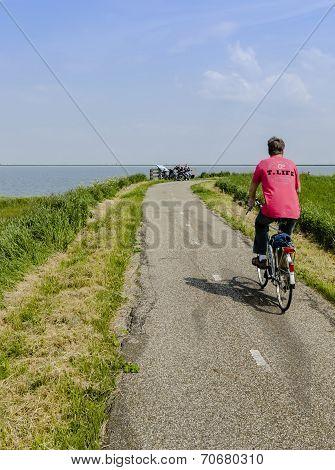Cyclist On A Dike