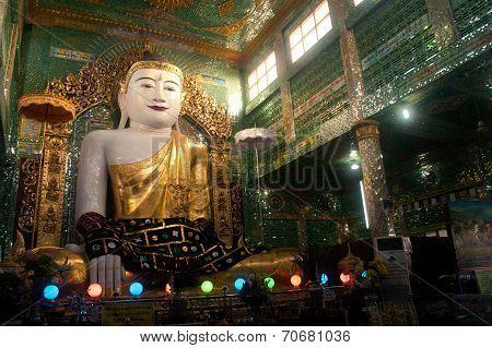 The Seated Buddha Presiding In Soon U Pone Nya Shin Paya,Myanmar.