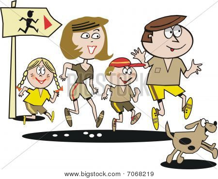 Family jogging exercise cartoon