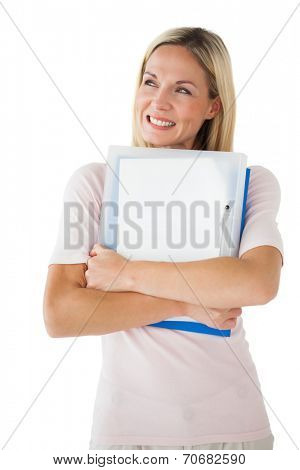 Happy mature student holding folders on white background