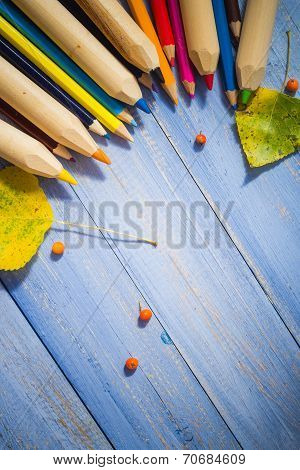 Vintage Background Colored Pencils Autumn Fruits Blue Table