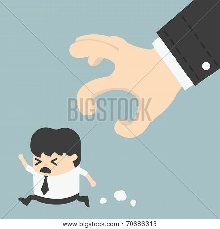 Businessman Trying To Run Away From Hand Eps 10