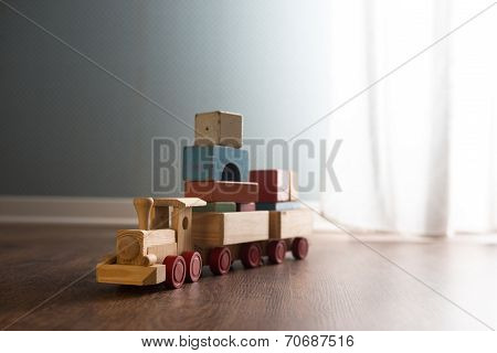 Wooden Toy Train On The Floor