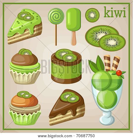 Set of sweets with kiwi. vector illustration
