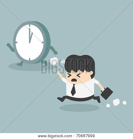 The Time Management  Businessman Running