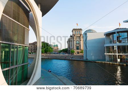 embankment of Spree, cityscape, Berlin, Germany