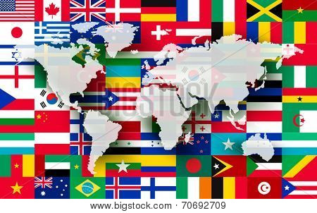 Map on a background of flags. Vector.