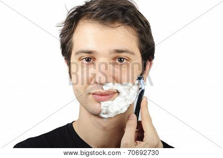Man Shaving Portrait