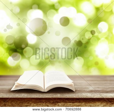 Open book on table in front of green background