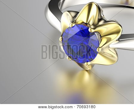 Engagement Ring with Diamond. Jewelry background. Sapphire