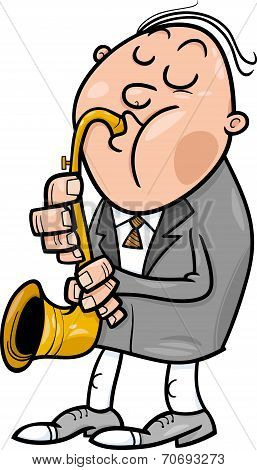 Man With Saxophone Cartoon Illustration
