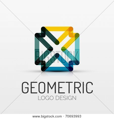 Vector abstract geometric shape icon, company logo design, business symbol concept, minimal line style