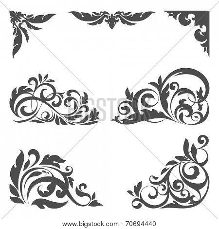 Vector set of floral elements for design