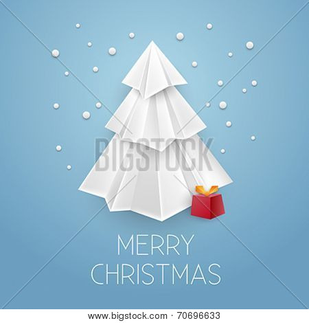 paper christmas greeting card background - blue colour - vector