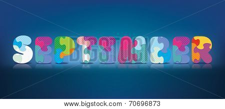 SEPTEMBER written with alphabet puzzle - vector illustration