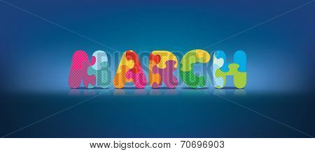 MARCH written with alphabet puzzle - vector illustration