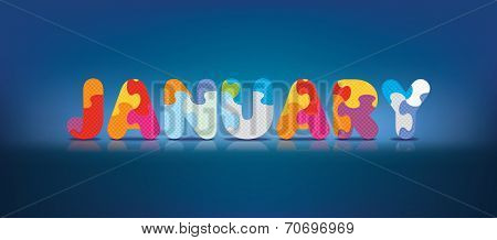 JANUARY written with alphabet puzzle - vector illustration