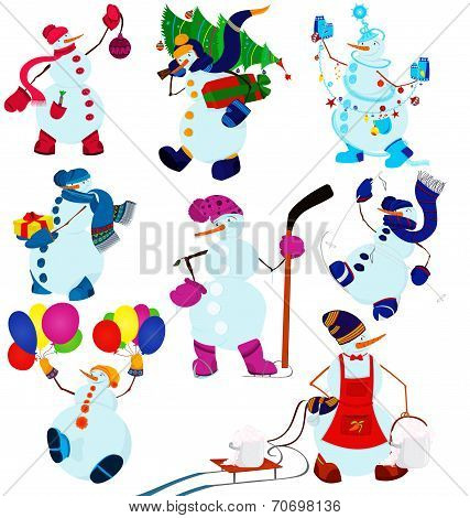 Cartoon Snowman Set And Balloons