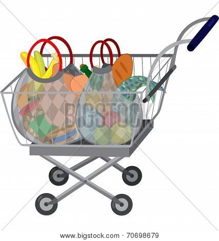 Grocery Store Shopping Cart With Full Bags