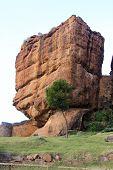 pic of karnataka  - Huge vertical box like rock formation at Badami Karnataka India Asia - JPG