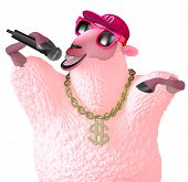 picture of rapper  - 3 d cartoon cute pink rapper sheep - JPG