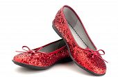 picture of ruby red slippers  - Horizontal close up of sparkling red slippers