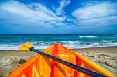 stock photo of kayak  - kayak looking at the beach and ocean waves  - JPG