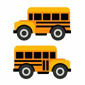 foto of covered wagon  - School Bus Icons in Flat Vector Style Illustration - JPG