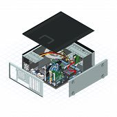 stock photo of mainframe  - isometric personal computer vector illustration with some peripherals on motherboard - JPG