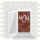 stock photo of not found  - Concept of not found error message over red brick wall inside door - JPG