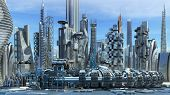 stock photo of skyscrapers  - Science fiction city skyline with metallic skyscrapers and hoovering aircrafts for futuristic or fantasy architectural backgrounds - JPG