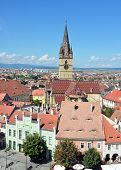 picture of sibiu  - Sibiu city Romania Lutheran Evangelical Cathedral general view - JPG