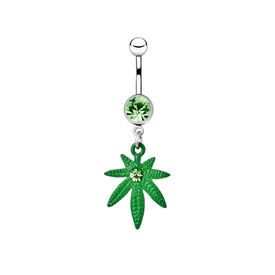 picture of pierced belly button  - Silver piercing in the shape of marijuana - JPG