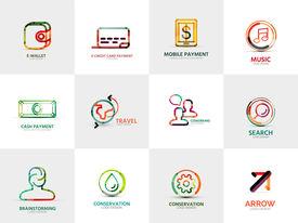stock photo of logo  - collection of 12 company logos - JPG