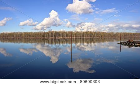 Reflection On The Columbia River Oregon.