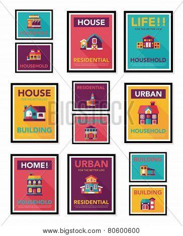 Building Poster Flat Design Background Set, Eps10