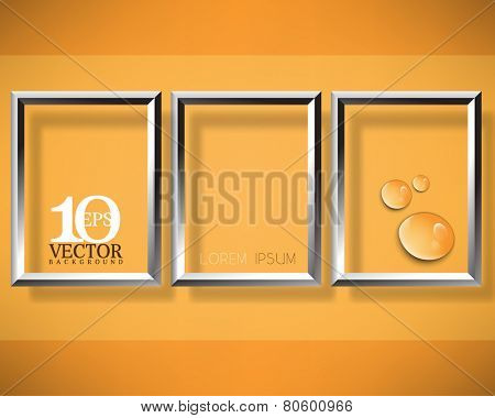 eps10 vector three metallic floating rectangle frame with water droplets elements concept background