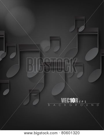 overlapping black music notes elements on dark background eps10 vector