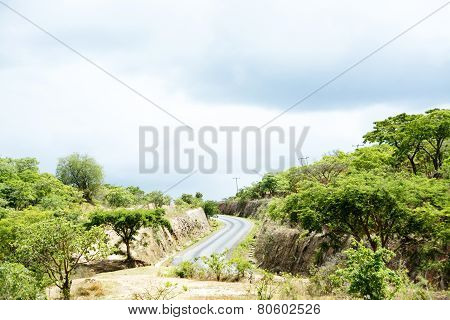 Mountain Pass in Stormy Weather, Malawi, Central Africa