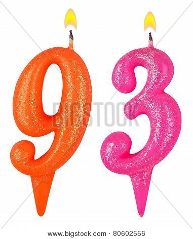 Birthday Candles Number Ninety Three
