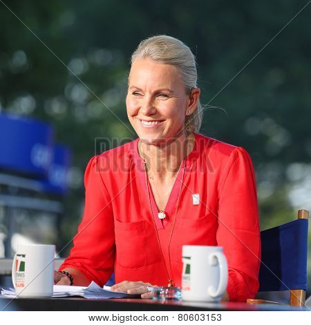Tennis Channel commentator and former professional tennis player Rennae Stubbs during interview