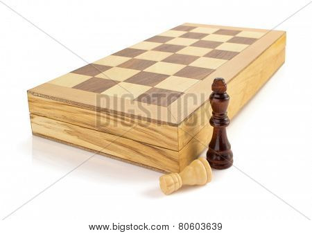 chess figures and board isolated at white background