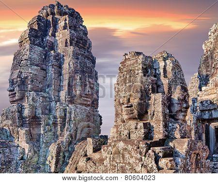 Bayon Temple Statues, Angkor, Siem Reap, Cambodia