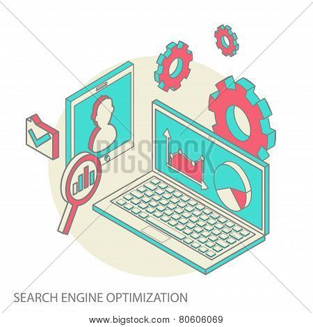 Isometric design modern concept of website analytics and SEO data analysis